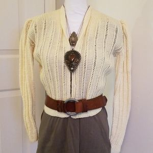 Vintage Handmade knitted wool sweater cream S XS